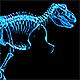 Tyrannosaur Skeleton Walking Xray Background with Alpha Nulled