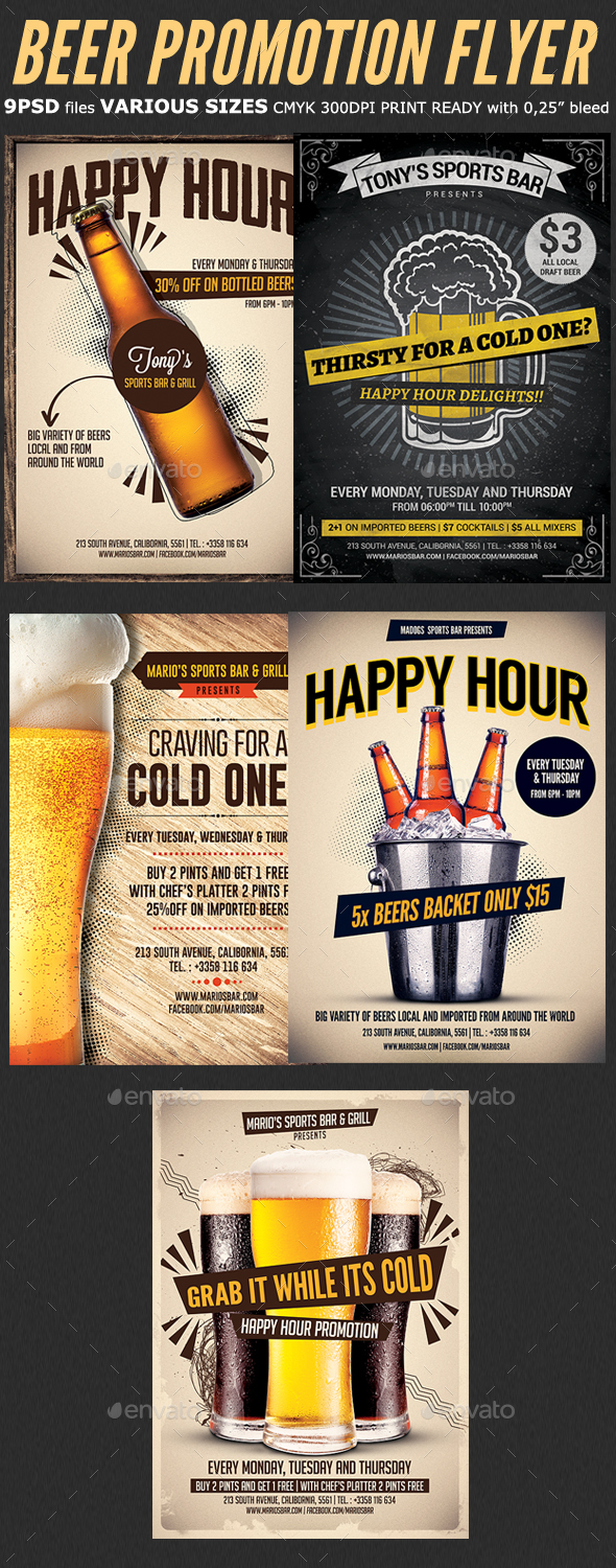 Beer Promotion Happy Hour Flyer Bundle - Flyers Print Templates