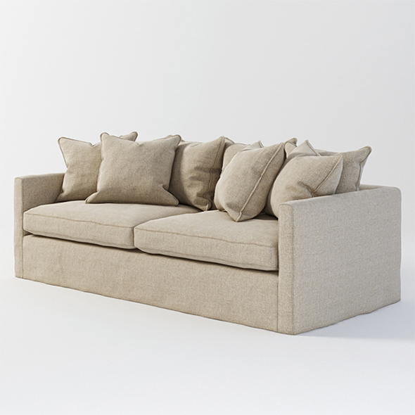 Vray Ready Modern Cream Fabric Sofa - 3DOcean Item for Sale