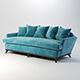 Vray Ready Modern Blue Fabric Sofa