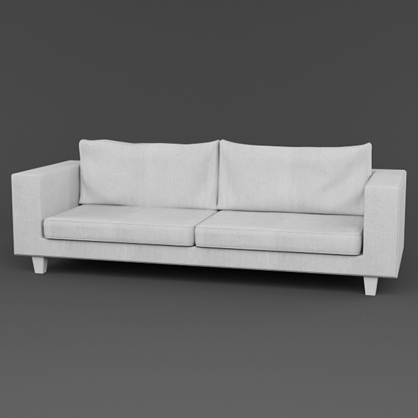 3DOcean Vray Ready Modern White Fabric Sofa 20375170