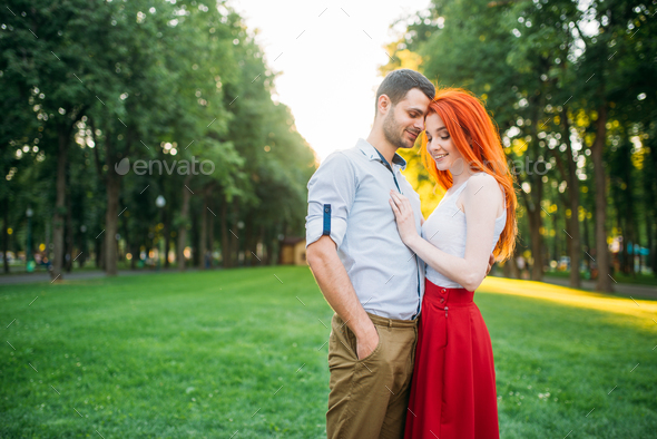 Romantic date, love couple hugs together - Stock Photo - Images