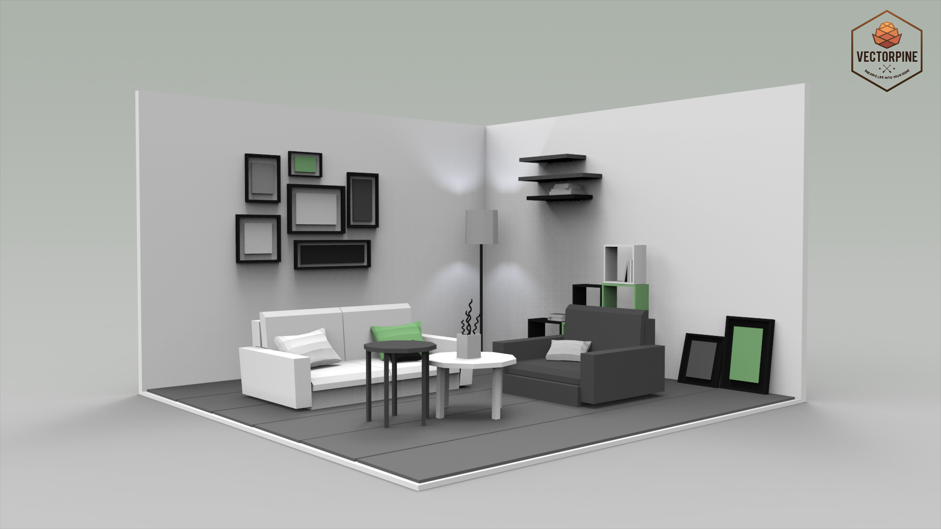 lovely living room 3d model | Low Poly Interiors - Living Room by Vectorpine | 3DOcean