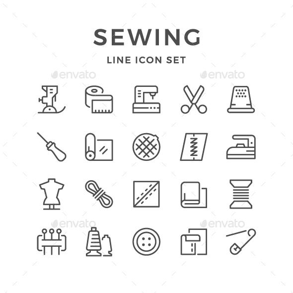 GraphicRiver Set Line Icons of Sewing 20375431