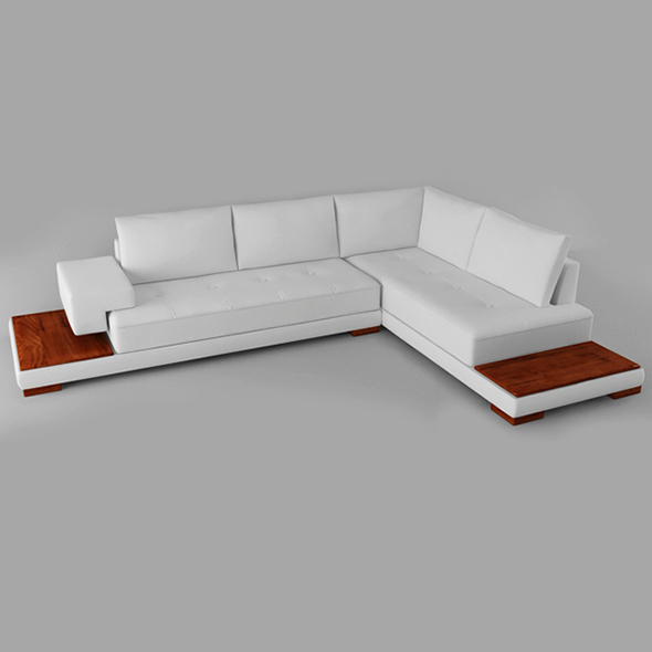 3DOcean Vray Ready Modern Wooden White Sofa 20375637