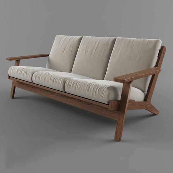 3DOcean Vray Ready Luxury Wooden Garden Sofa 20375653