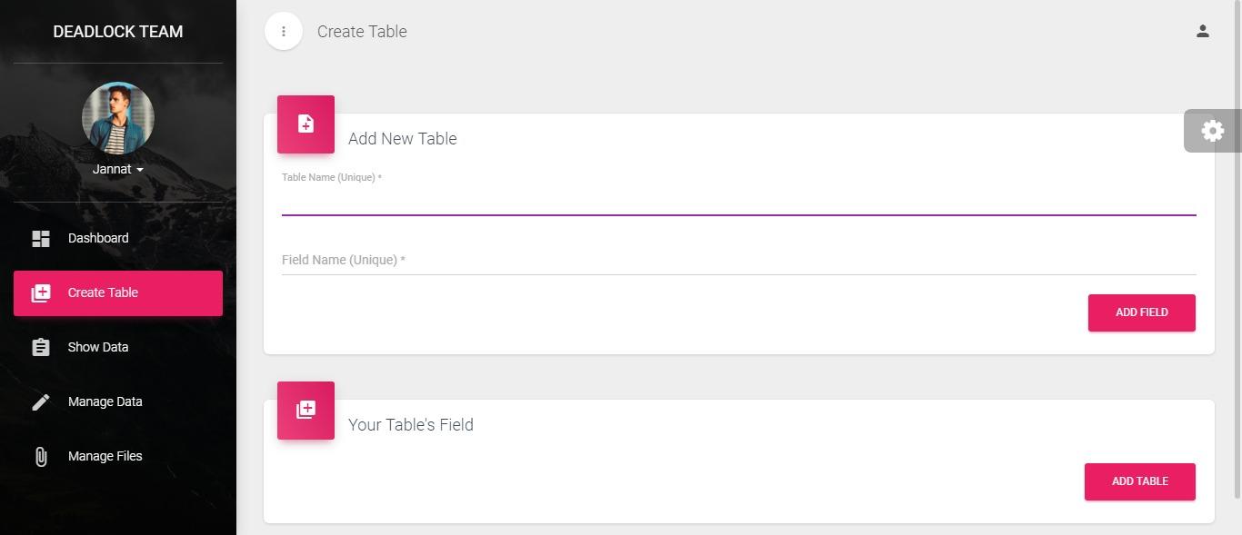 Firebase admin dashboard by deadlock javascript version for Table design javascript