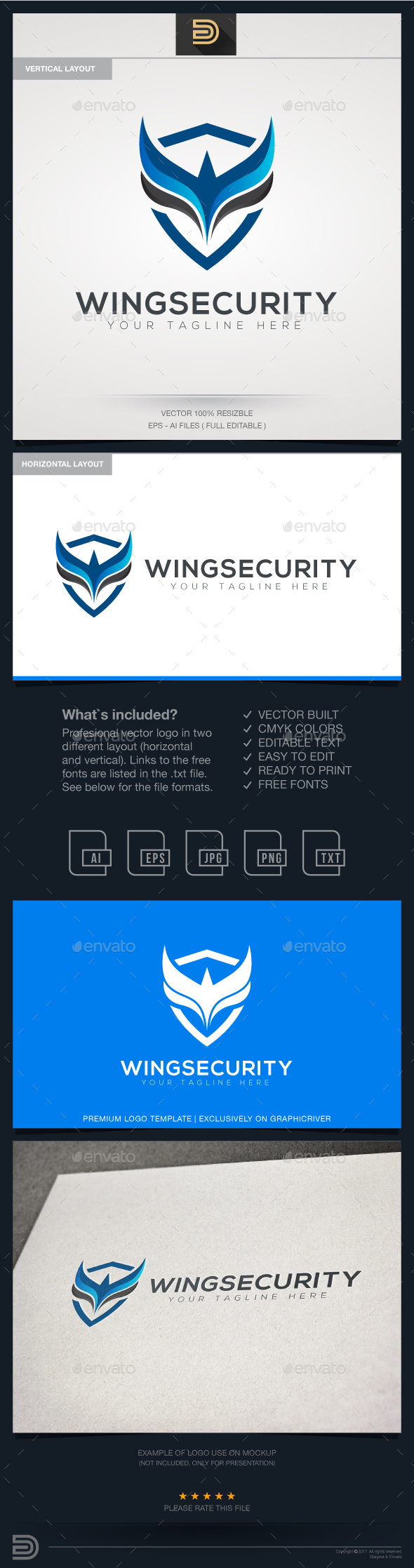 Wings Security Logo - Objects Logo Templates
