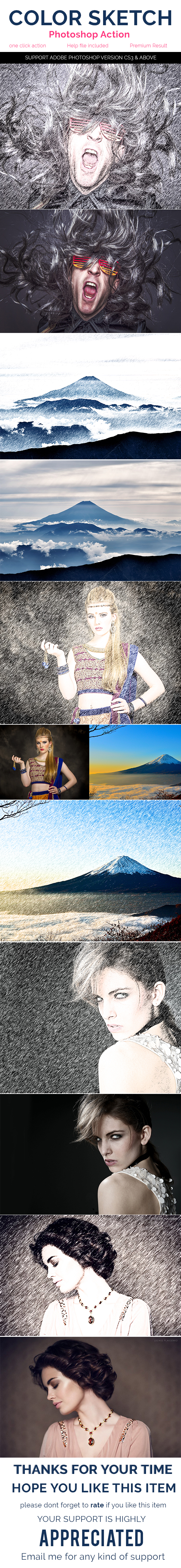 GraphicRiver Color Sketch Photoshop Action 20375755