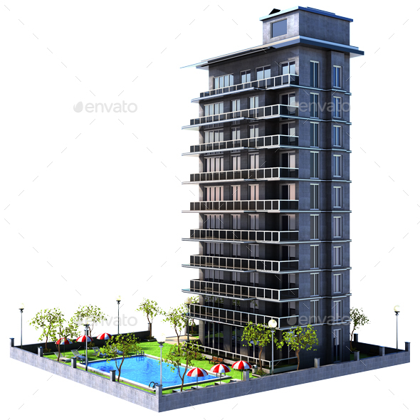 Cartoon Building Apartments - Architecture 3D Renders
