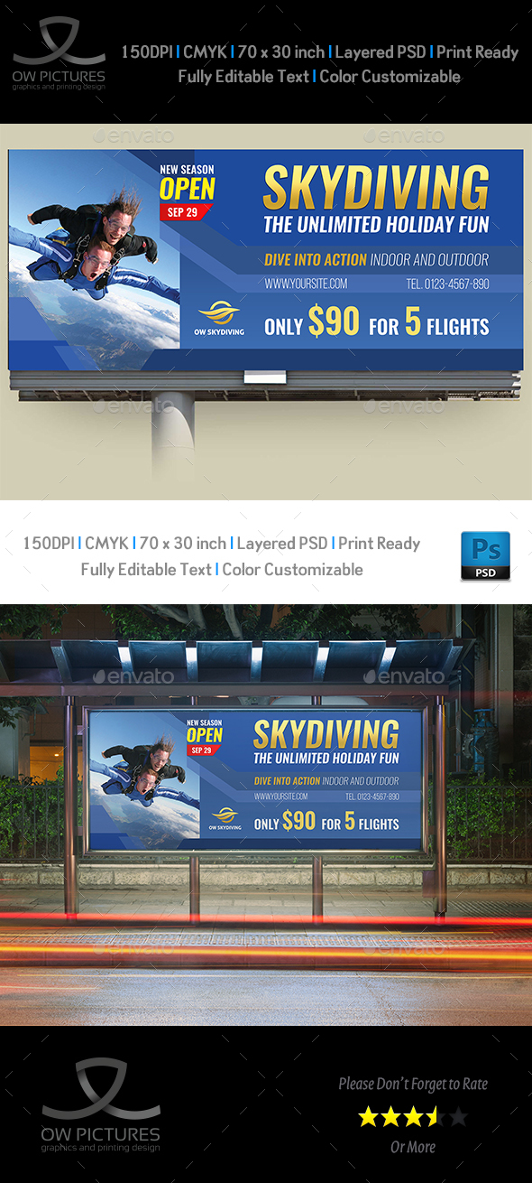 Skydiving Billboard Template - Signage Print Templates