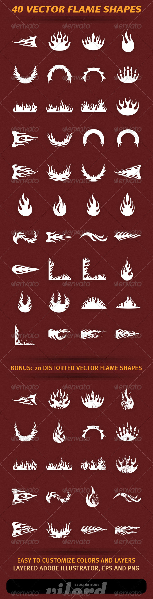 40 Vector Flame Shapes 2 - Decorative Vectors