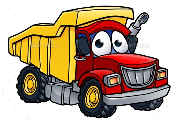 Dump Truck Cartoon Character - Man-made Objects Objects