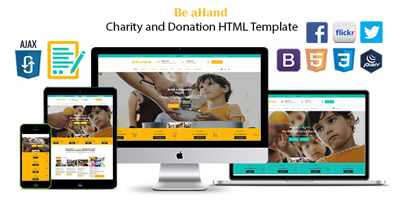Image of Be aHand Charity and Donation HTML Template