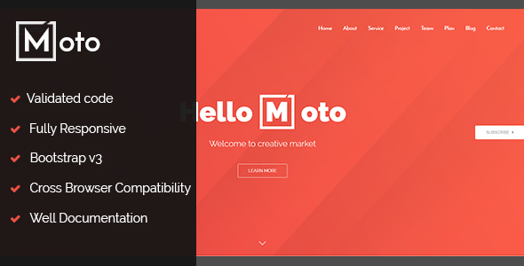 Moto - One page / single page Template
