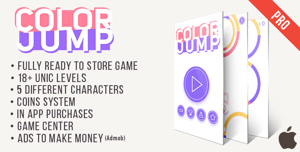 Color Jump (Pro) - Fun Arcade Game IOS Template + easy to reskine + AdMob - CodeCanyon Item for Sale