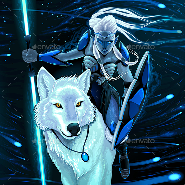 Elf with White Wolf - Animals Characters