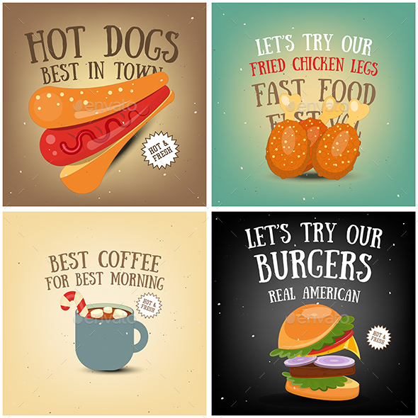 Coffee, Fast Food, Ice Cream Posters