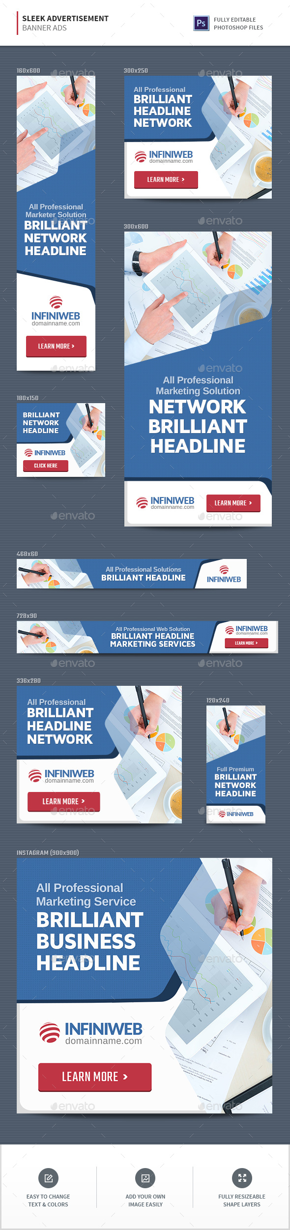 Sleek Advertisement Banners - Banners & Ads Web Elements