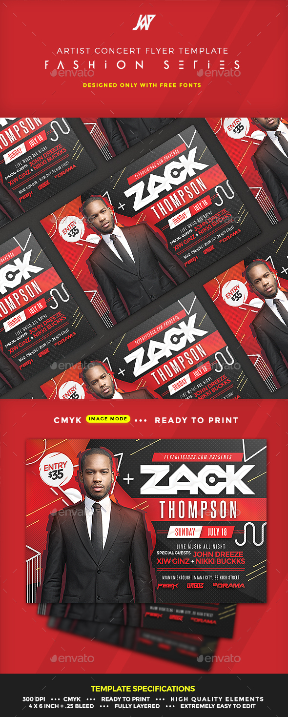 GraphicRiver Artist Concert Event or Party Flyer 20377456