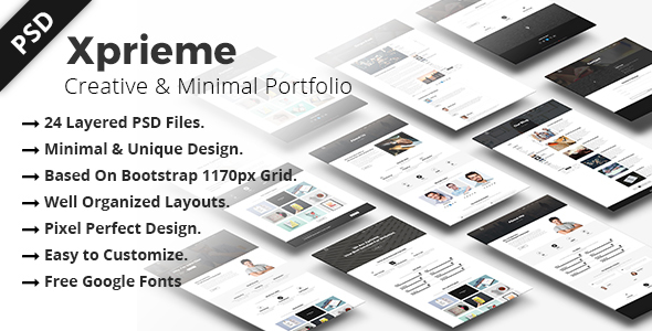 Xprieme – Creative and Minimal Portfolio PSD Template.