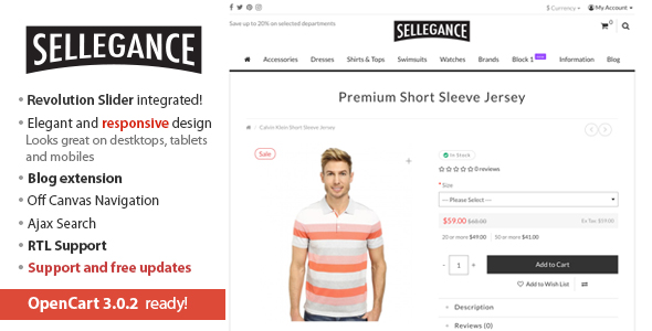 Free Download Sellegance - Responsive and Clean OpenCart Theme Nulled Latest Version