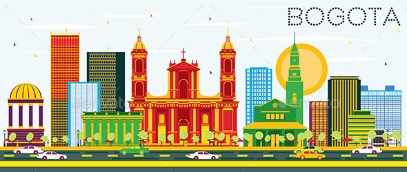 GraphicRiver Bogota Colombia Skyline with Color Buildings and Blue Sky 20377856