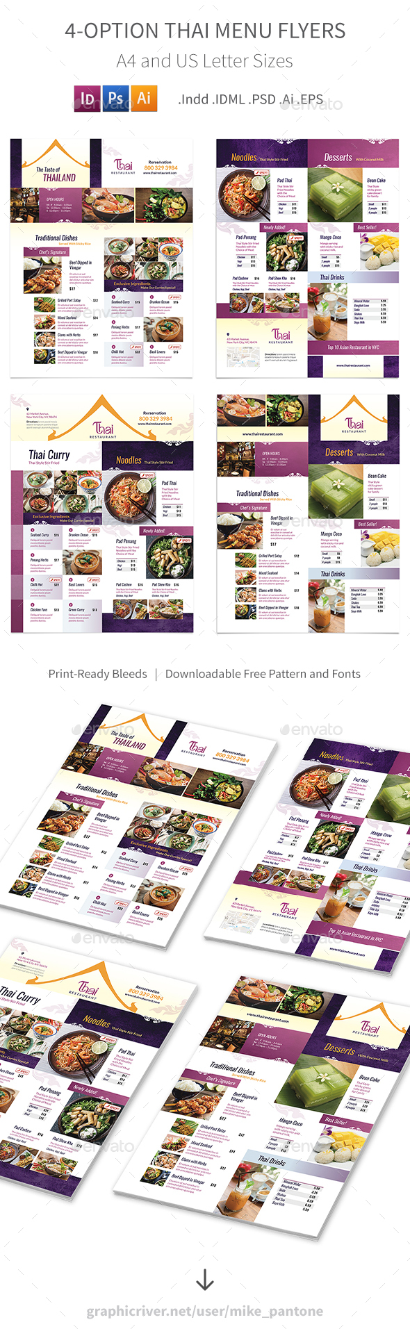 Thai Restaurant Menu Flyers 4 – 4 Options - Food Menus Print Templates