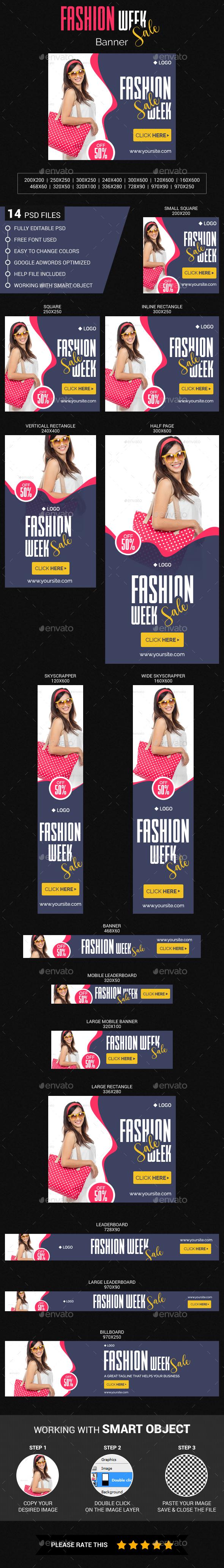 Fashion Week Sale - Banners & Ads Web Elements