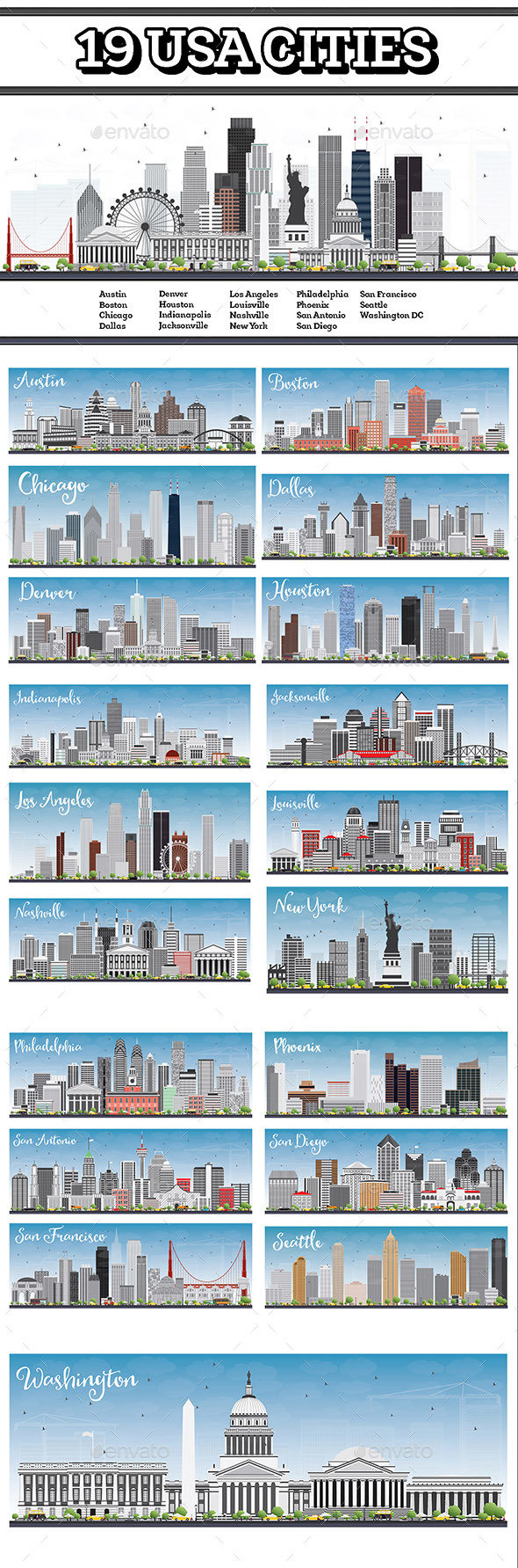 19 USA Cities Set - Buildings Objects