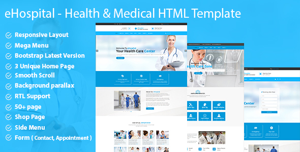 eHospital - Health & Medical  HTML Template - Health & Beauty Retail