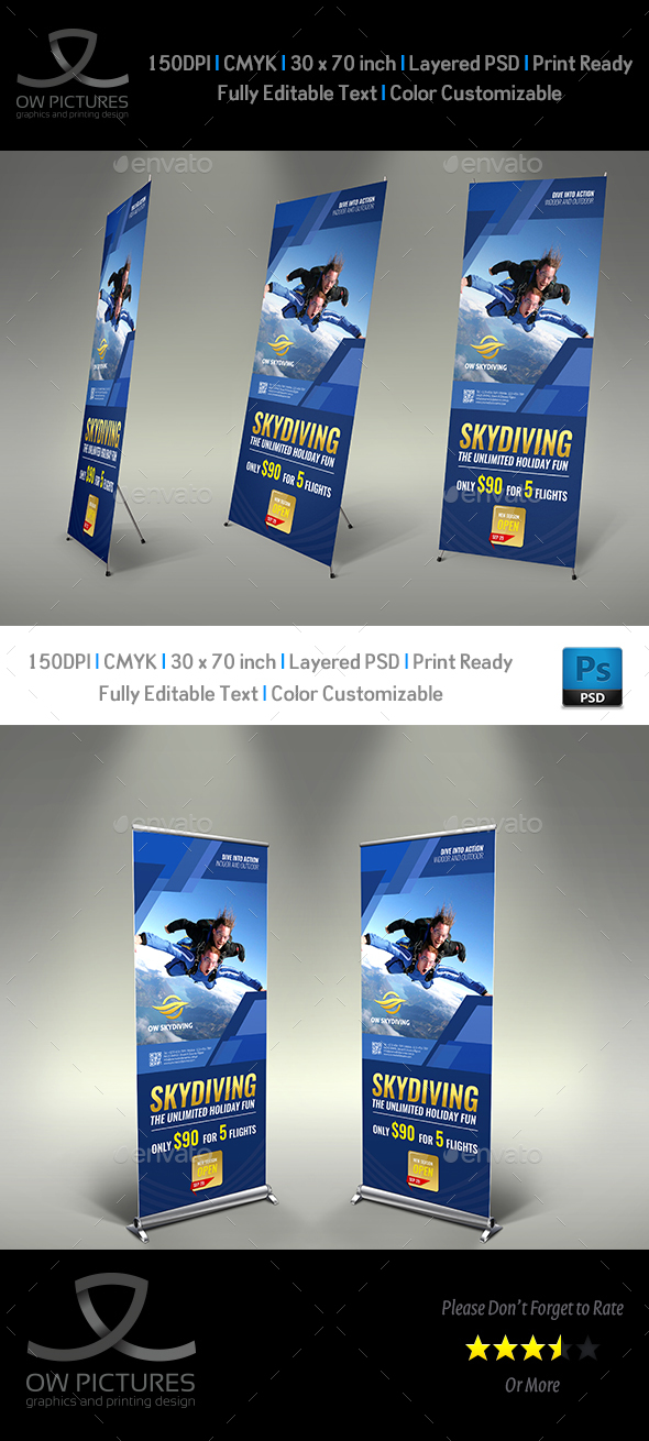 Skydiving Signage Roll Up Banner Template - Signage Print Templates