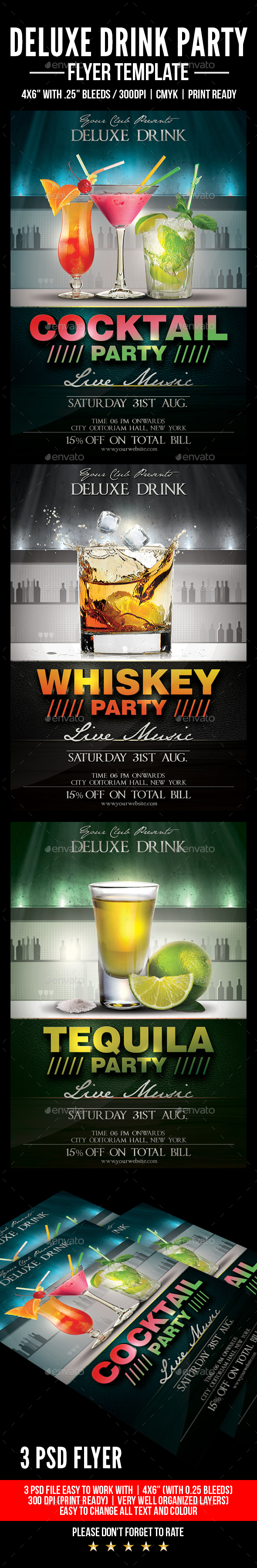 Deluxe Drink Party Flyer - Flyers Print Templates