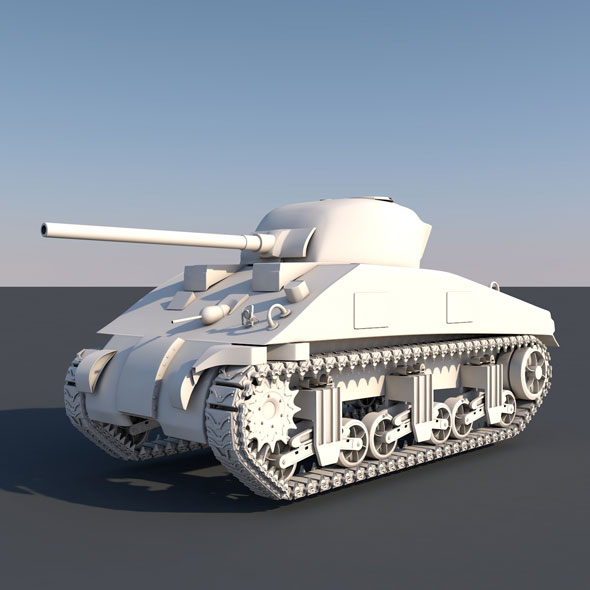 Tank_Sherman_M4A2 - 3DOcean Item for Sale