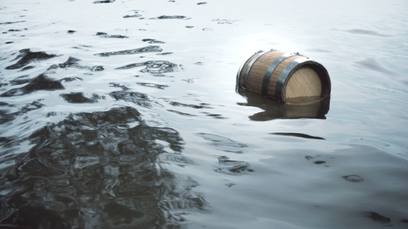 VideoHive Barrel of Wood Floating on the Waves in the Sea 20379116