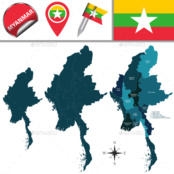 GraphicRiver Map of Myanmar with Divisions 20379230