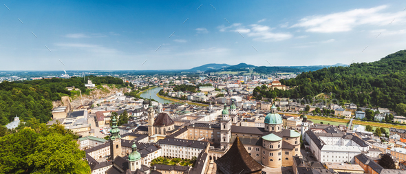 Panoramic view of beautiful Salzburg in Austria - Stock Photo - Images