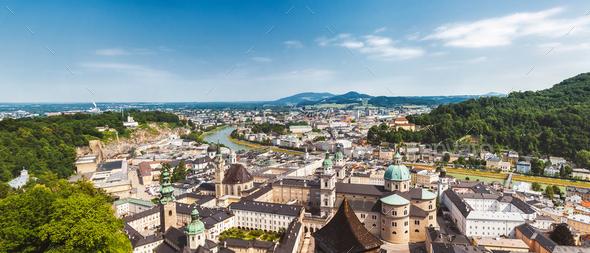 Panoramic view of beautiful Salzburg in Austria - Stock Photo - Images