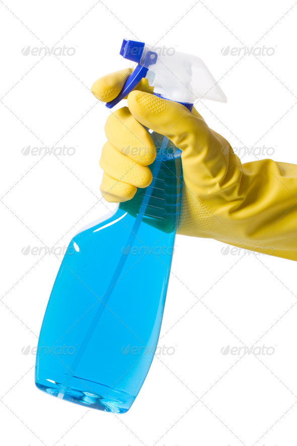 hand in glove with spray bottle - Stock Photo - Images