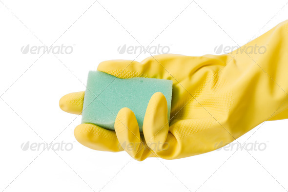 hand in rubber glove - Stock Photo - Images
