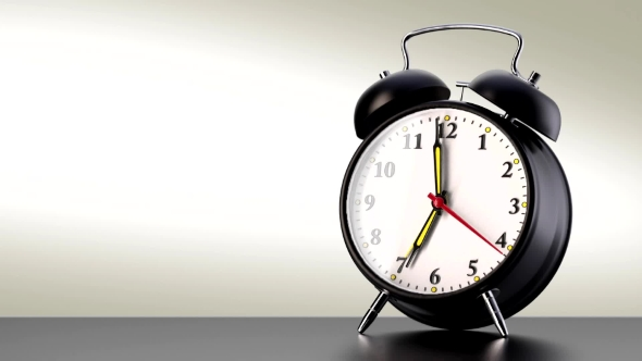 VideoHive Vintage Black Alarm Clock on White Background Time Concept 20379381
