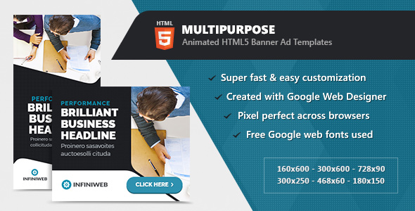 Download Animated Multipurpose Banner Ad Templates - HTML5 GWD