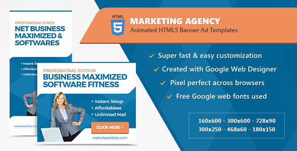Download Marketing Agency Banner Ad Templates - HTML5 Animated