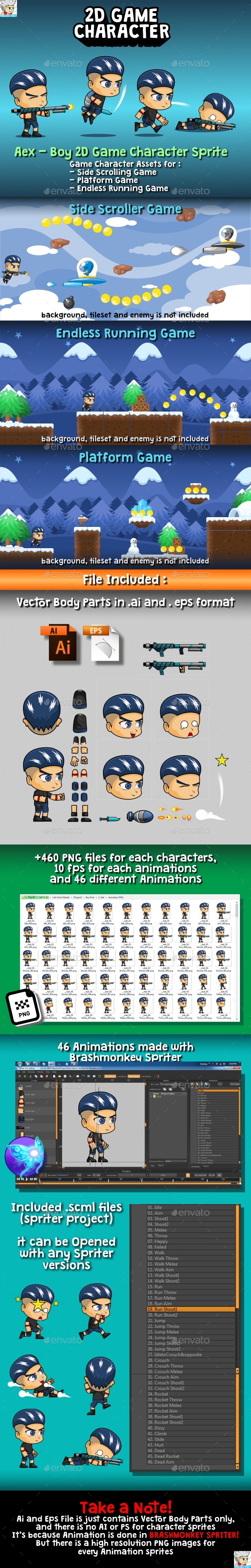 GraphicRiver Aex Boy 2D Game Character Sprite 20379859