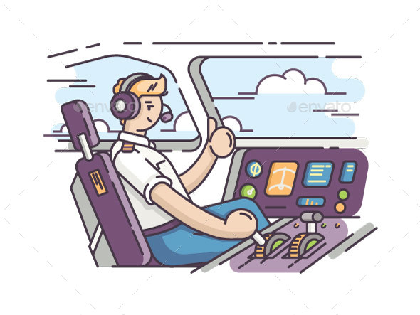 GraphicRiver Airplane Pilot in Cockpit 20379911