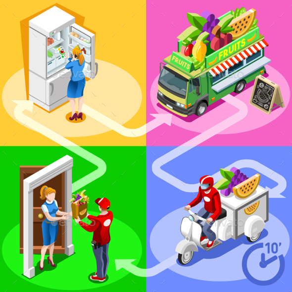 Food Truck Fruit Cart Home Delivery Vector Isometric People - Vectors