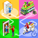 Food Truck Fruit Cart Home Delivery Vector Isometric People - GraphicRiver Item for Sale