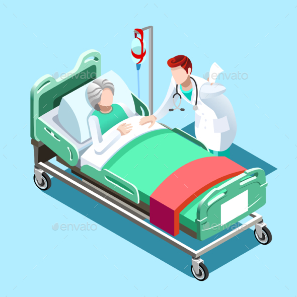 Medical Patient Bed and Doctor Talking Vector Isometric People - Vectors