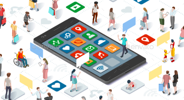 People Connecting Smartphone Isometric Vector Infographic - Vectors