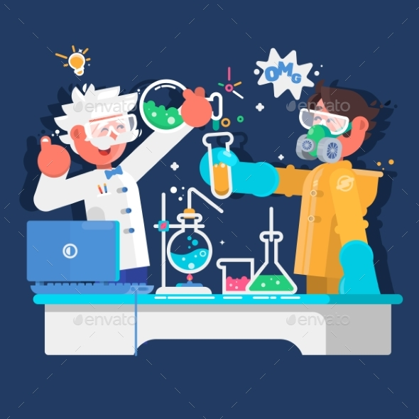 GraphicRiver Laboratory Assistants Work in Scientific Medical 20380529
